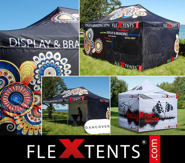 Digitaalinen kokoprintti FlexTents®-telttaan – markkinoiden johtavaan pikatelttaan