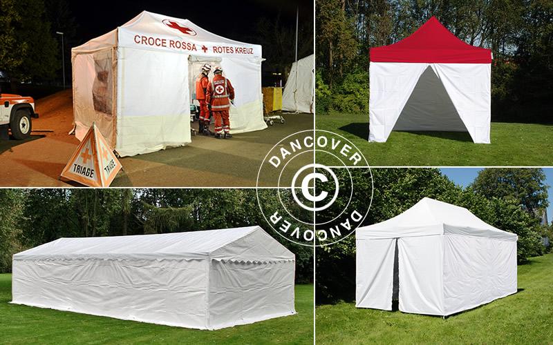 hoidon tarpeen arviointiin, esiarviointiin, testaukseen on teltat, pikateltat, testaukseen, Dancover, toimittaa sairaanhoitotelttoja